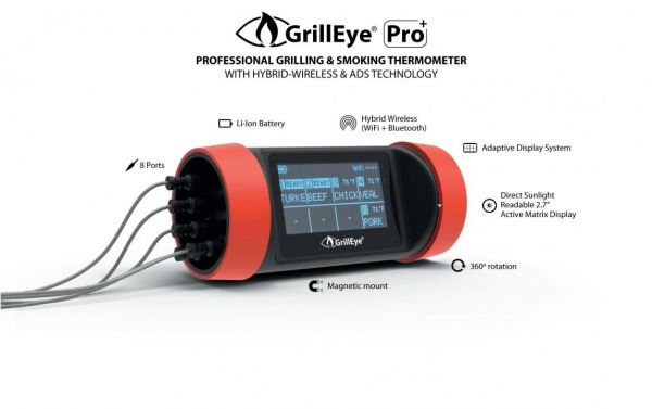 GrillEye Pro Plus Smart Bluetooth Grill- und Smoker Thermometer